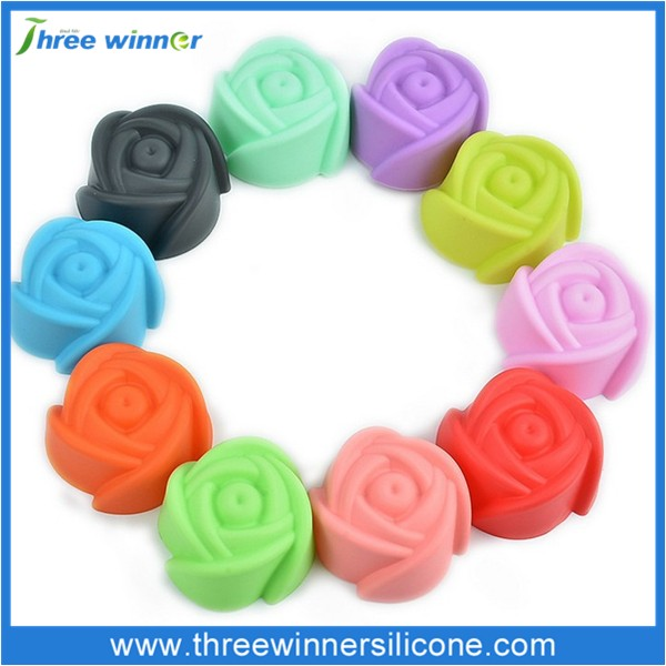 Hot sale rose shape silicone cookie mould multicolor