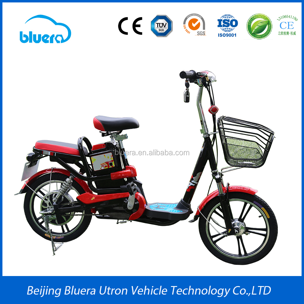 2017 New design Bluerabike 48V 350W lead-acid battery electric scooter moped with pedals
