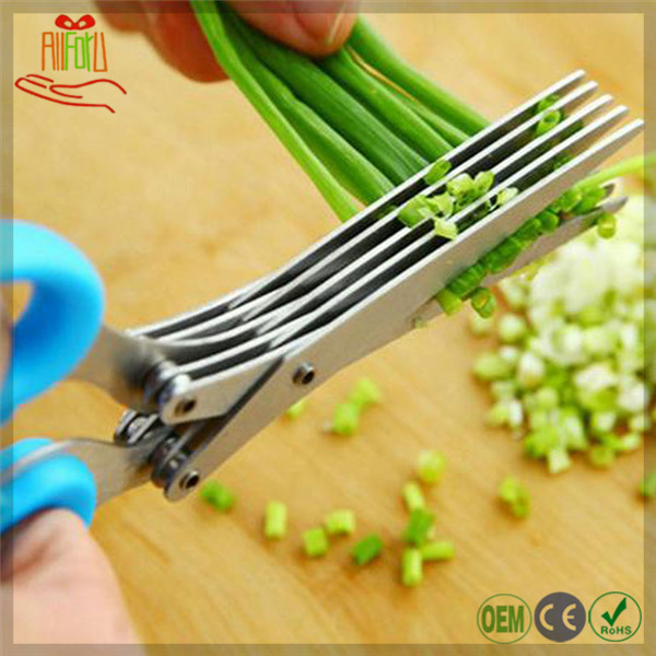 Cooking Tools Multi-functional Stainless Steel Kitchen Knives 5 Layers Vegetables Cutting Scissors