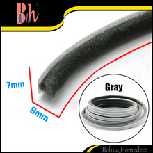 PP Brush Sealing Strip Self Adhesive Seals Draught Excluder Aluminium Door Window Wool Pile Weather Stripping Gray 7x8mm