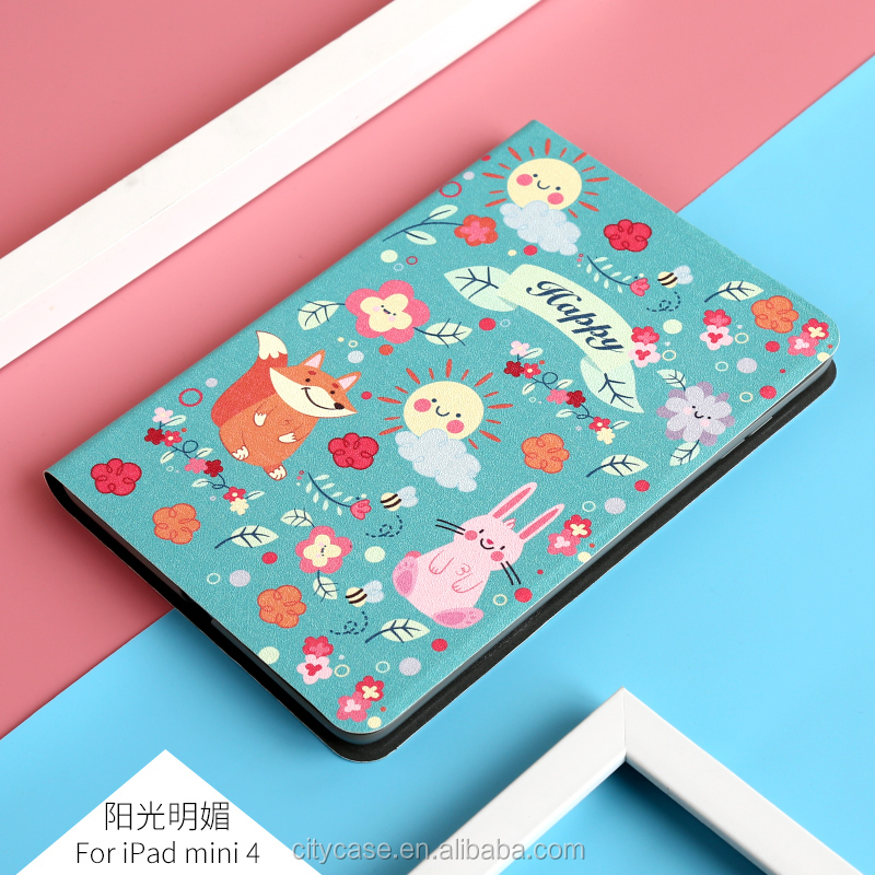 city&case Lovely Cartoon Design Print Cover Leather Flipstand Case For Apple iPad Mini 4