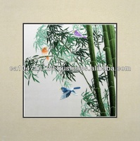 37040-Green Bamboo with Colorful Birds-- Susho, King Silk Art 100% Handmade Silk Embroidery