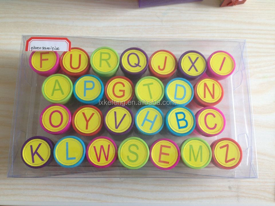 26 Letters plastic self-ink stamp for children toy