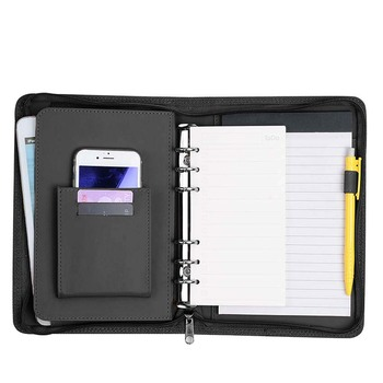 Wholesale PU Leather Manager Folder Black Brown Color Stationery Office Accessores Accept Customized Zipper Planner Case