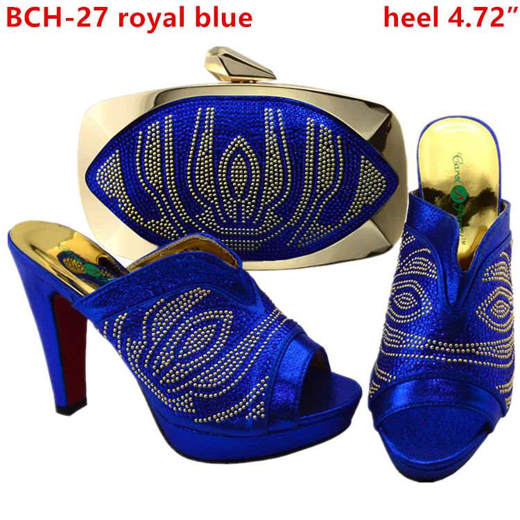 Custom made royal blue italian shoes and matching clutch bag / toe high heels women shoes with genuine italian leather bag