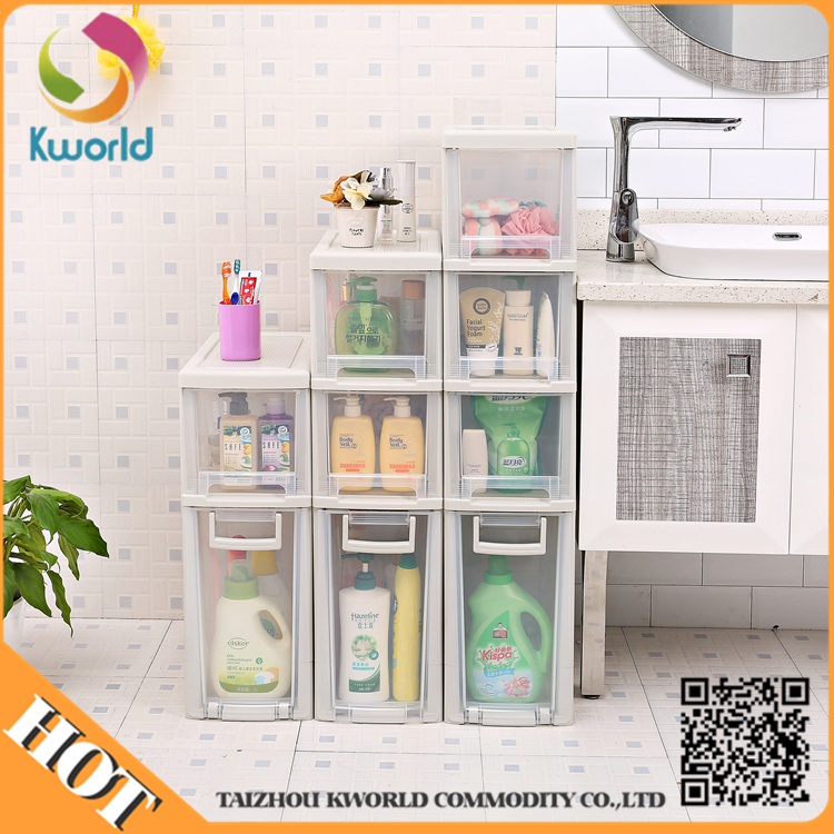 Portable removable narrow transparent plastic kitchen drawer storage cabinet plastic drawer unit