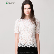 latest summer loose casual white fashion crochet lace blouse for middle aged women