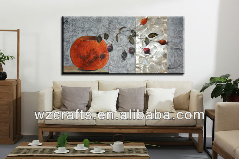 Metal abstract vase wall art and crafts hanged on the wall