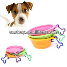 """Fold-N-Go"" Silicone Collapsible Pet Food/Water Dish Dog Travel Bowl with Bone Clip"