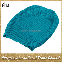 Custom cheap plain pom pom blue/pink/green color beanie knitted women winter hat