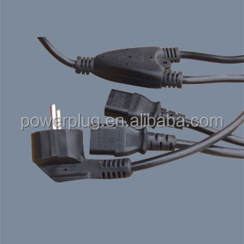 3 pins European CEE7/7 Schuko plug to 2 female C13 Plug extension cord