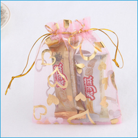 Factory price cheap personalized new year organza wedding gift bag with lace