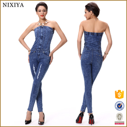 wholesale dark blue stretch denim jean pants boob tube pencil overall for woman