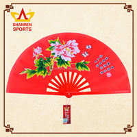 Custom printed taichi folding fabric bamboo and plastic hand fan for festival