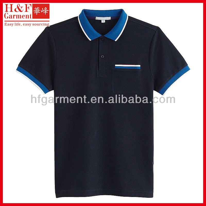 Plain navy blue polo shirt with pocket classic design with striped collar