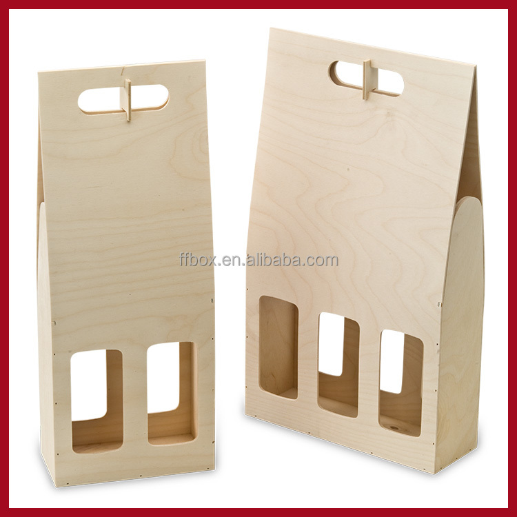 Handling Bottles Portable Plywood Wine Gift Carrying Case for Sale