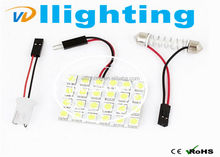 Car Led Panel White 5050* 24SMD LED Car Interior Dome Reading Light Bulbs with 3 Adapter T10 BA9S
