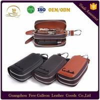 Custom Logo Genuine leather Ring Floating car key holder key case Key Chain for men