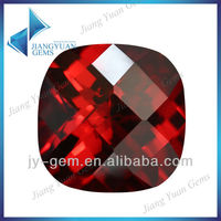 Blood Garnet 15*15mm Double Side Checkerboard Cushion Cut Zircon Jewelry Gemstone