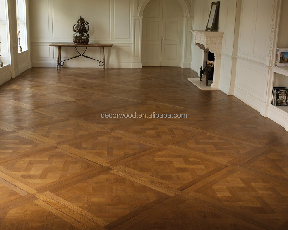 Antique finish solid wood versailles parquet floor french style