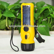 FM radio function color yellow mini solar torch light