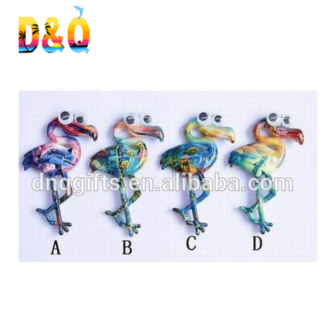Resin souvenirs magnets flamingo shape Water transfer printing fridge magnets with Moving Eyes