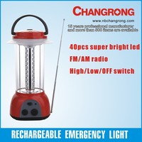 high quality 40 led light with FM/AM radio for emergency and camping