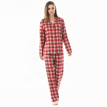 <strong>100</strong>% Cotton Fashion Wholesale Winter Women Lounge Custom Check Factory Nightgown Flannel Pajamas Sets