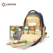 Loostar Hot Selling Outdoor Trendy Multifunction Baby Diaper Bag Backpack