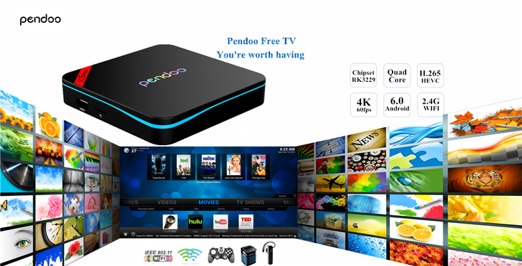 Pendoo X5 Pro RK3229 1G 8G TV Box qbox android tv box 4gb ram 16gb rom With the Best Quality Android 6.0 set top