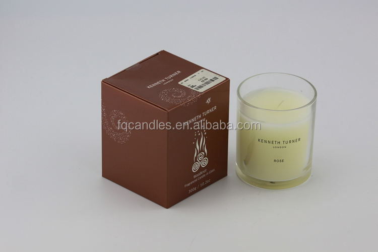scented soy candle in glass jar with gift box