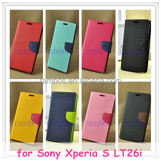 Book Flip Wallet Leather Case Cover Skin for Sony Xperia S LT26i / for Xperia Neo L MT25i