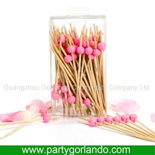 Hot seling party bamboo decoration picks with ball in PVC box