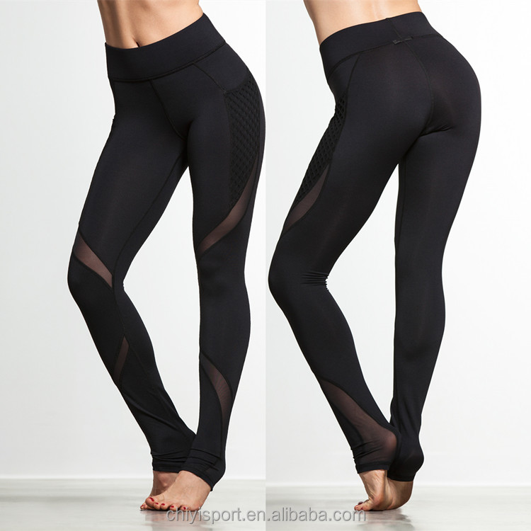 Custom yoga pants fitness black leggings with mesh design