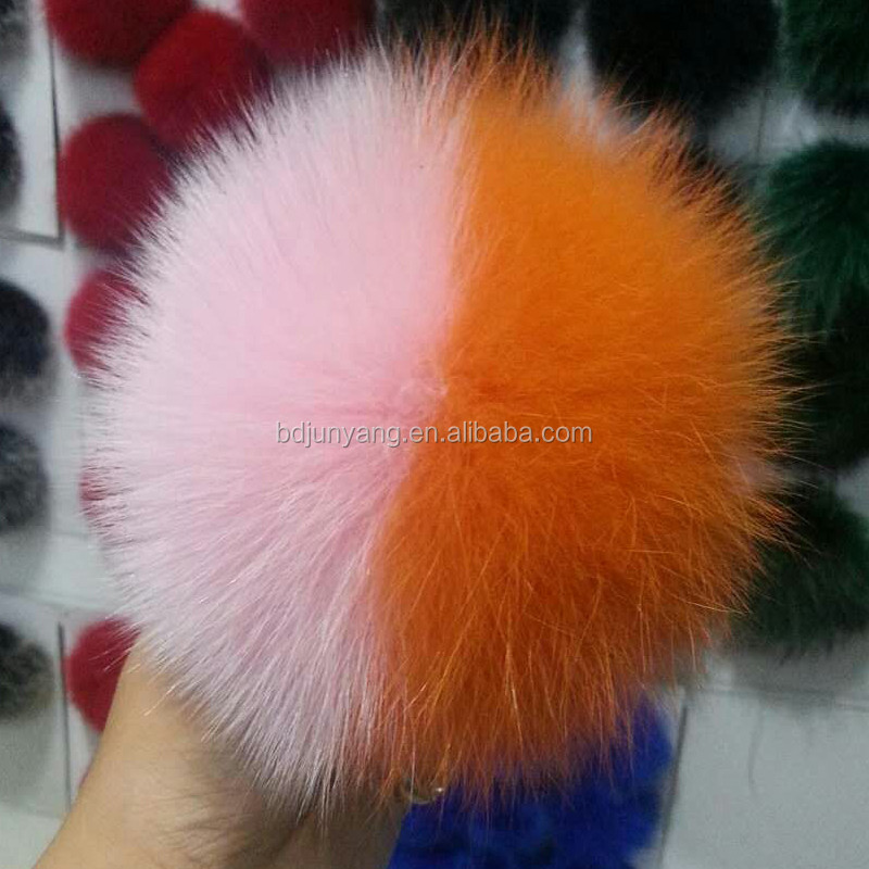 Novelty fox fur pom for ear muff car and bag pendant hairy ball keychain