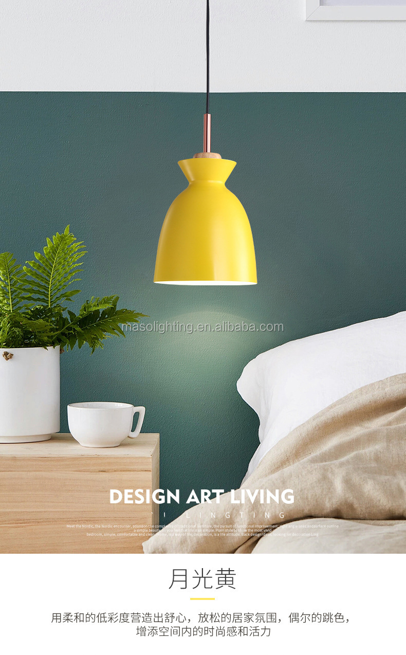 New creative Kettle shape pendant lamp Multi-color Warm Nordic wooden ceiling Art Decoration Chandelier light fixture
