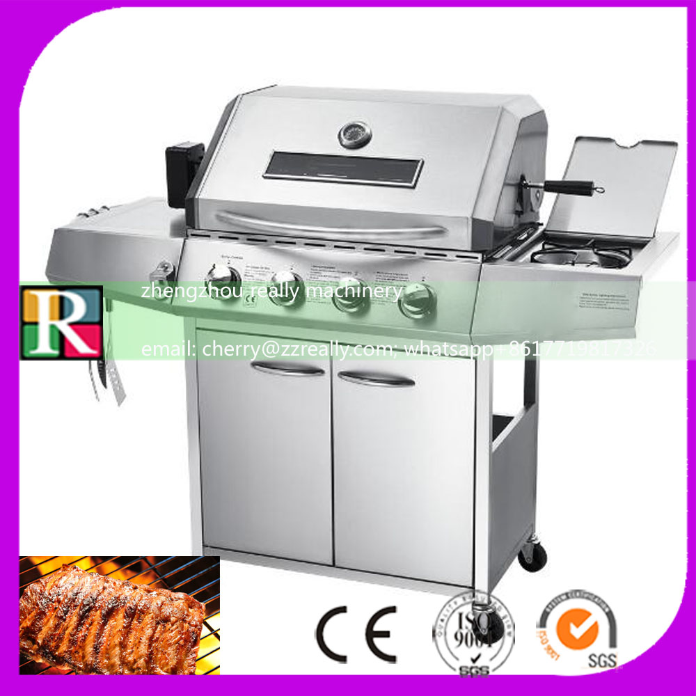 restaurant Outdoor smokeless commercial automatic rotating charcoal bbq grill with gas for sale