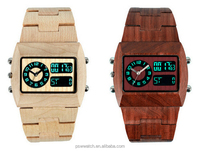 two movt hot sale blue LED digital wooden watches