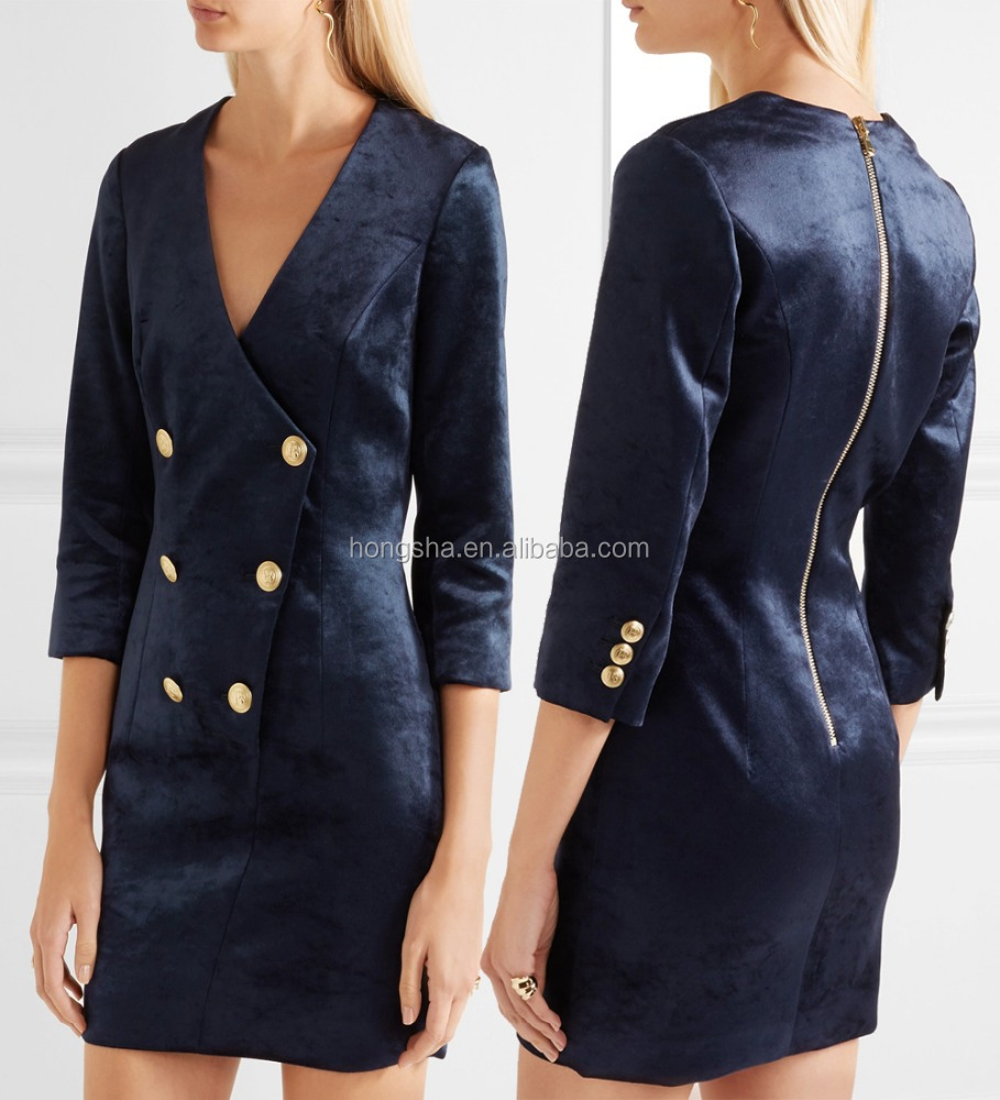 Classic Button Fastenings Double-Breasted Stretch-Velvet Mini Dress Women Blazer Design Names Of Ladies Dresses HSD5701