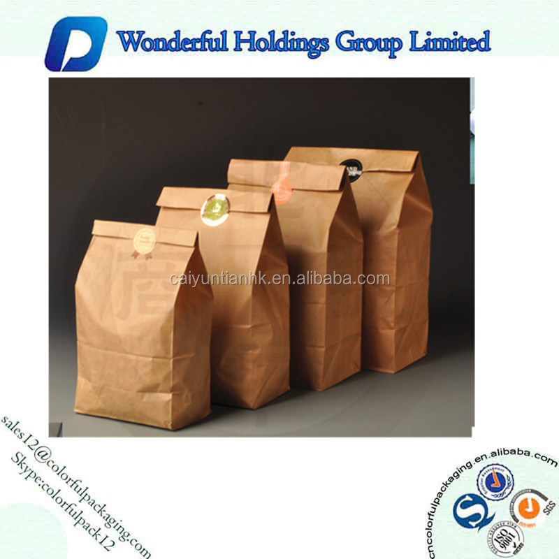 Environmental Protection Side Gusset Cookie Food Standup Kraft Paper Pouch Bag