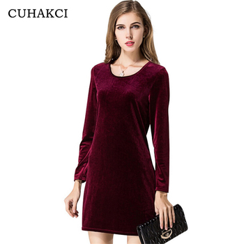 Autumn Vogue Women Elegant Velvet Fabric Dress Ladies Long Sleeve Plus Size Wine Red Dress