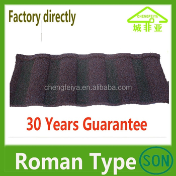 High quality colorful stone coated steel roof tile Roman type