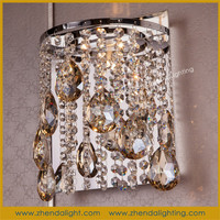 Luxury european style chrome finished modern wall crystal lamp
