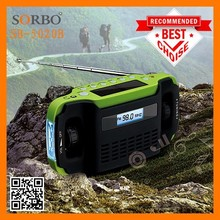 SORBO Wholesale Hand Crank Dynamo Solar AM/FM Radio with LED Flashlight & Alarm & Digital Clock & Charger for Outdoor or Home