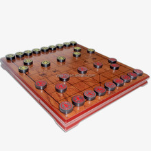 Antique Wooden Chinese Chess Set with Ebony Chess Pieces and Custom Folding Chess Board with Drawer