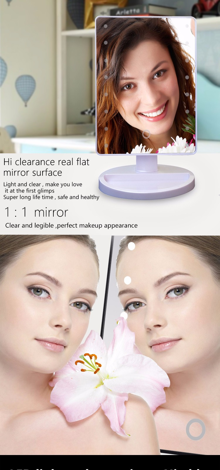 Competitive China Led Light Make Up Mirror Table Round Standing Mirror Makeup Factory