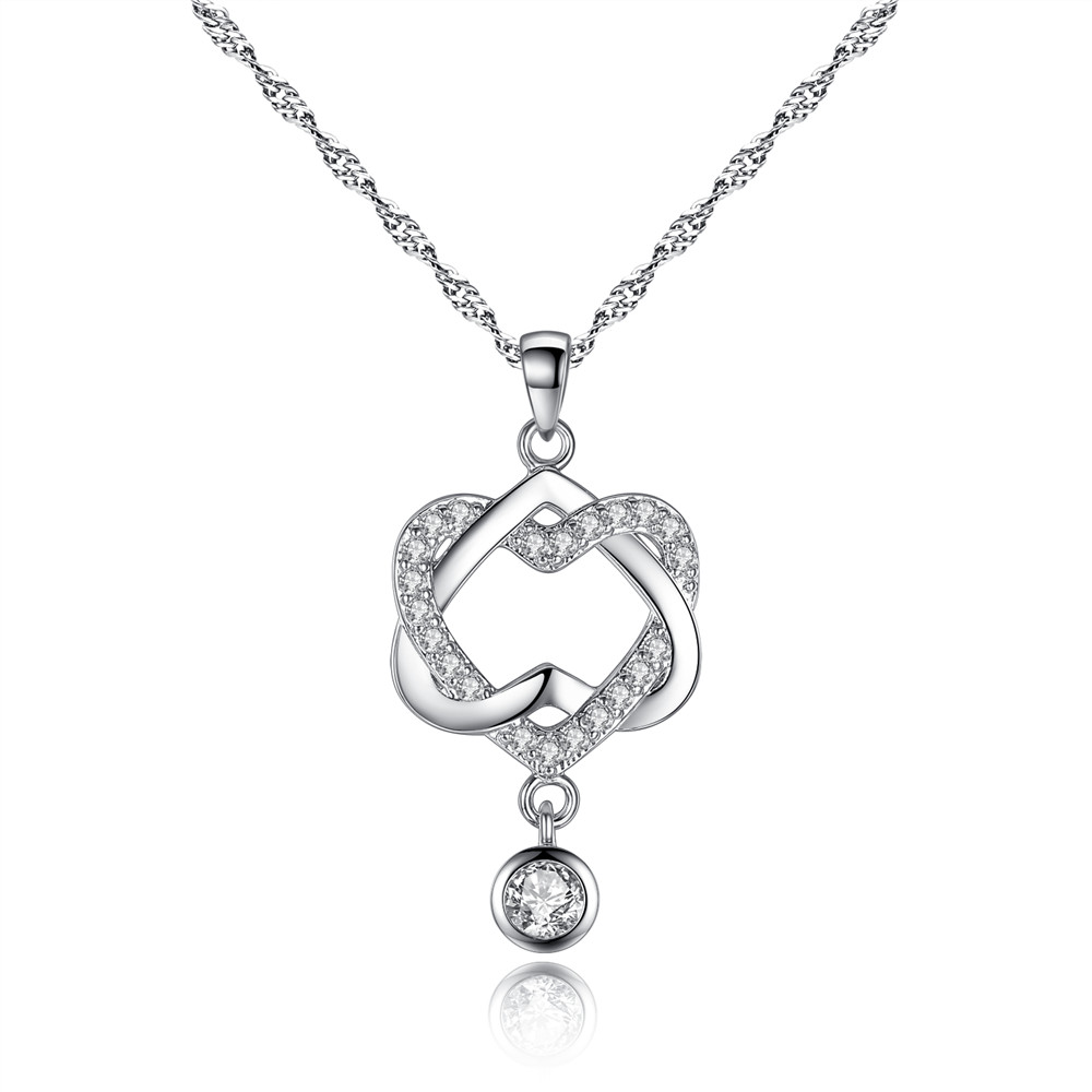 Wholesale! CZ double heart Pendants necklace made with Czech <strong>crystal</strong> Free Shipping