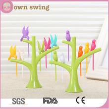 Plastic Creative Fruit Fork Bird Tree Decorative Household Daily Necessities Dessert Forks