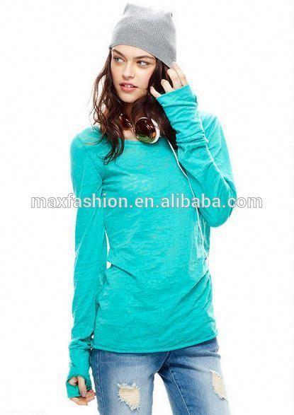 2014 Ladies Fashion Thumbhole Sleeve top