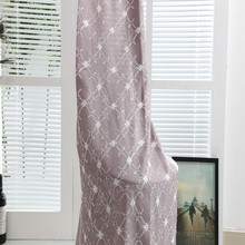 Simple modern design woven technic embroidered sheer linen window curtains for living room drapery